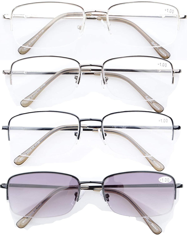 CessBlu Reading Glasses 4 Pairs Half-rim Spring Hinge Reader Eyeglasses for Men Women Reading