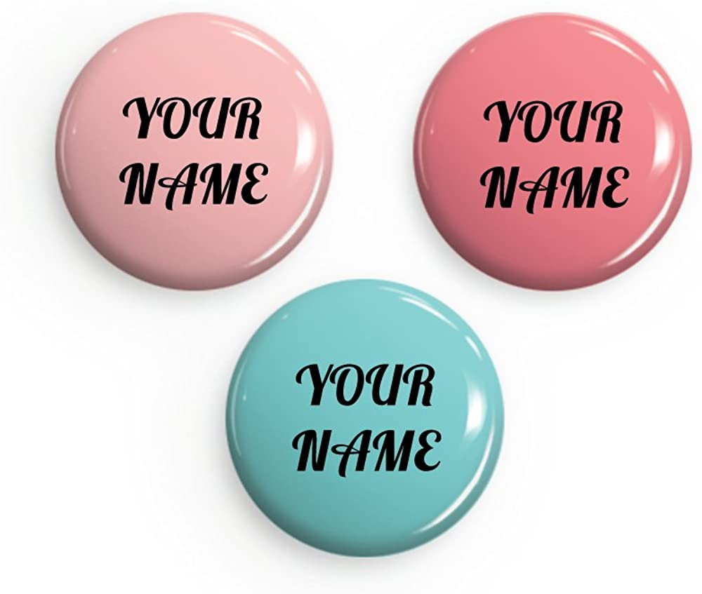 3 Personalized Custom Pinback Buttons