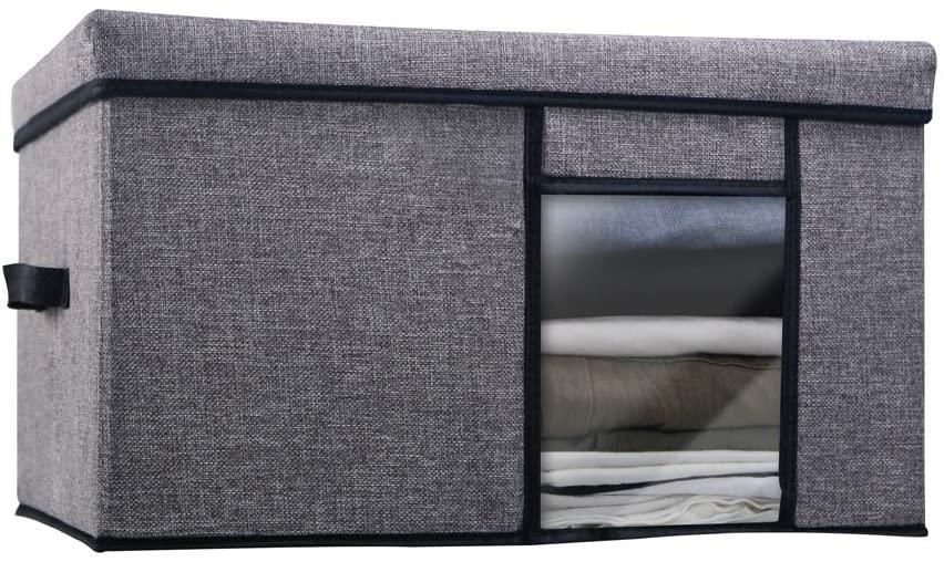 Grey foldable storage box, rectangular storage box, large-capacity linen fabric, with handles and transparent windows(19.6 ″ (L) × 15.7 ″ (w) × 11.8 ″ (H))
