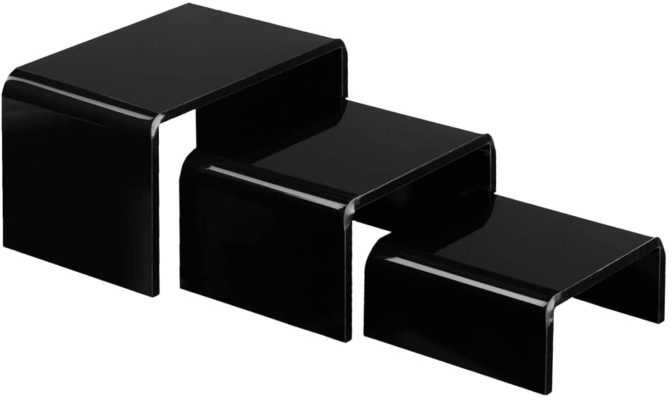 Art of Acrylic Black Acrylic Risers for Display, 3 Piece Showcase Shelf for Figures, Buffets, Cupcakes and Jewelry Display Stands, Thick and No Sticky Peel Showcase Fixtures
