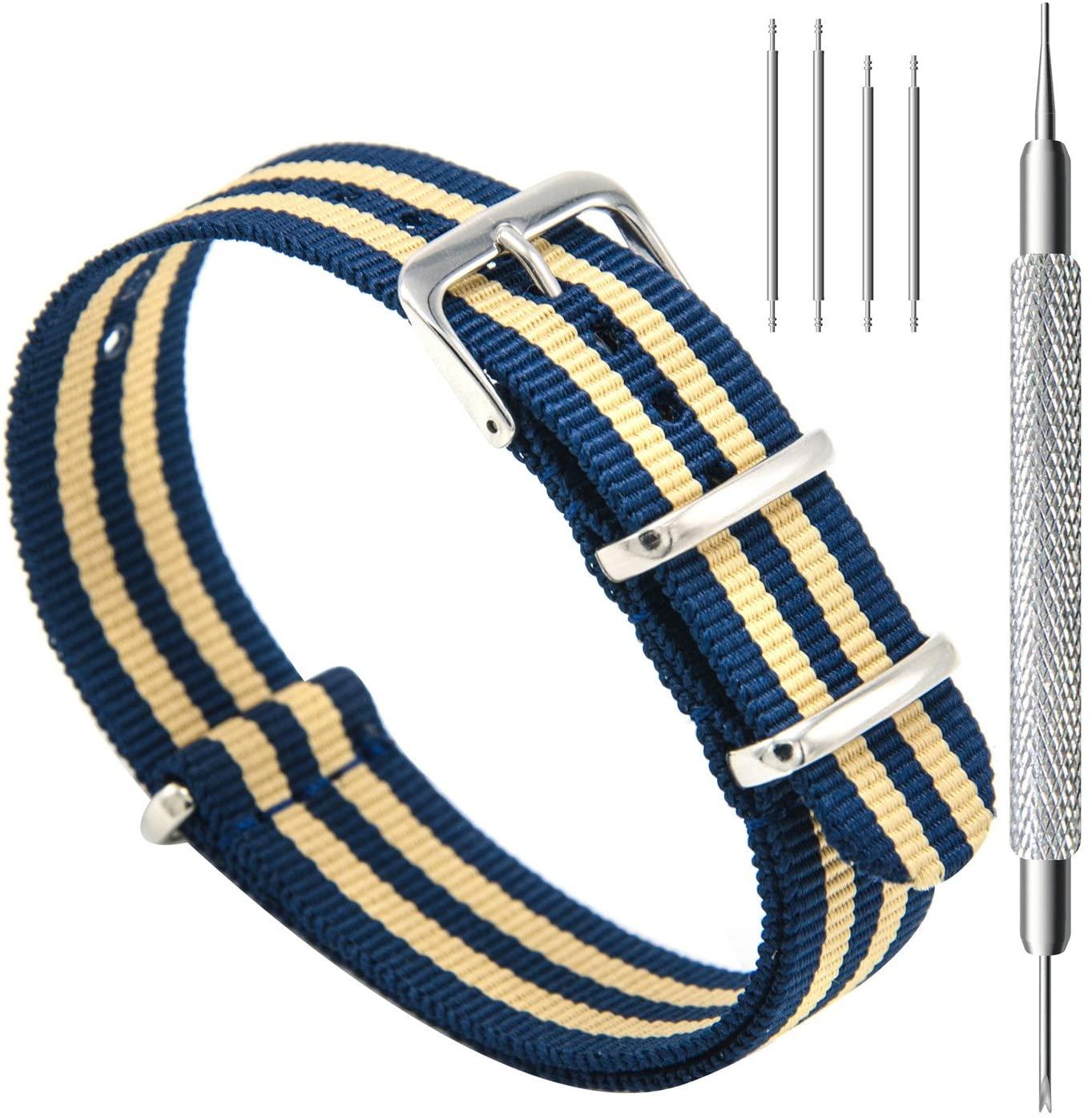 CIVO Watch Bands NATO Premium Ballistic Nylon Watch Strap Stainless Steel Buckle (Navy/Khaki, 18mm)