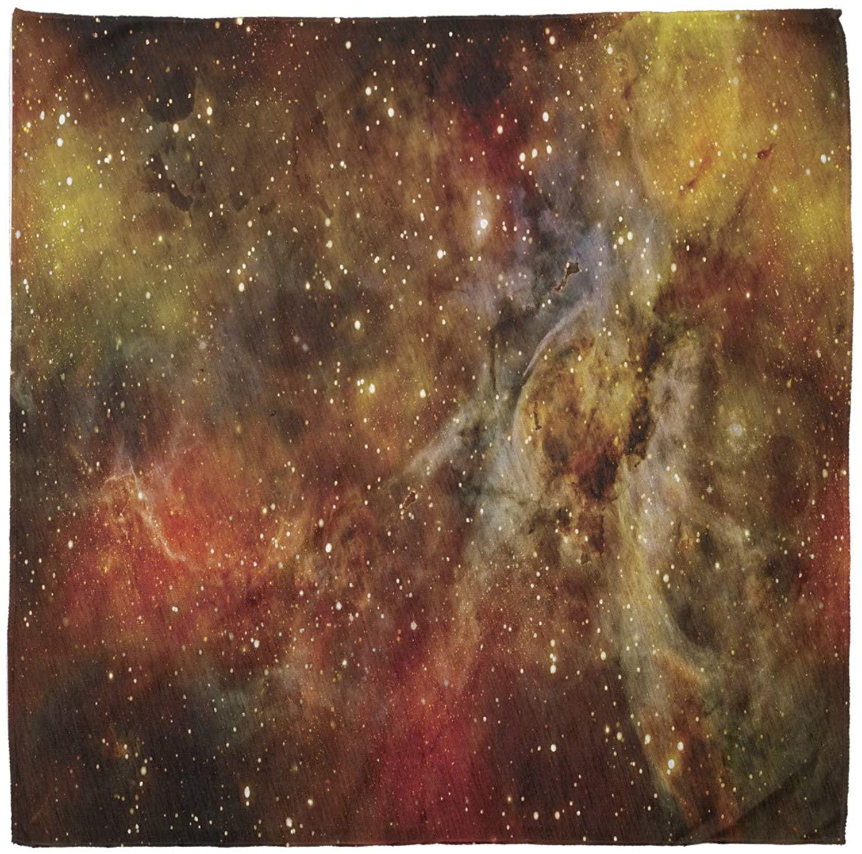 Lunarable Unisex Bandana, Outer Space Astro Galaxy Universe, Black Orange Yellow