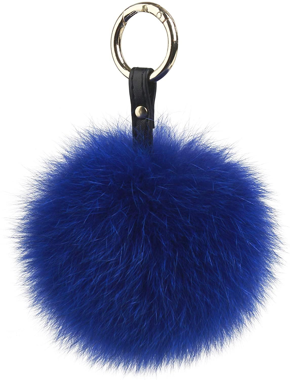 Fur Story Fur Pom Pom KeyChain Bag Car Purse Charm Fluffy Fur Keychain Ball