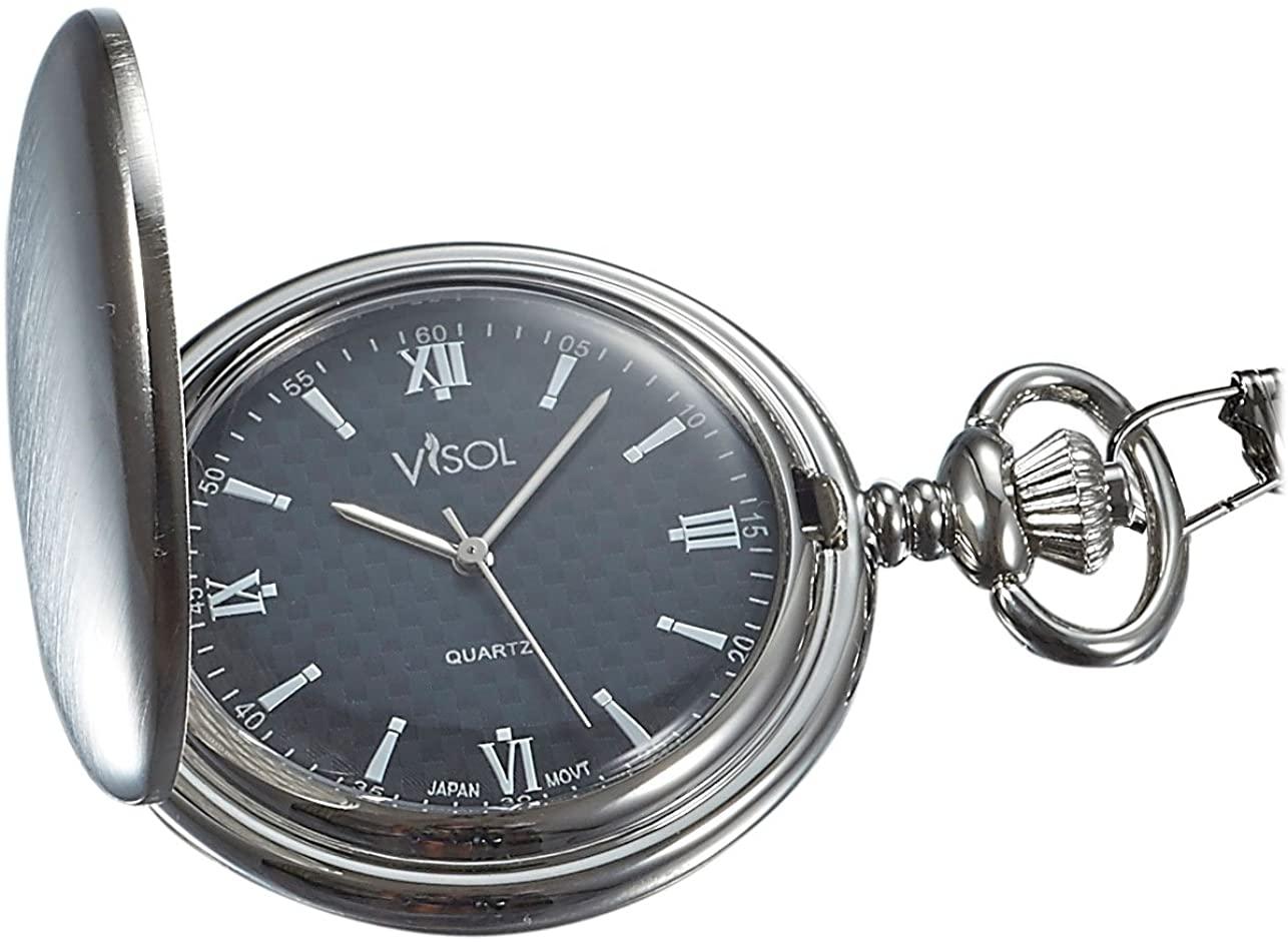 Visol Benson Brushed Chrome Japanese Quartz Pocket Watch