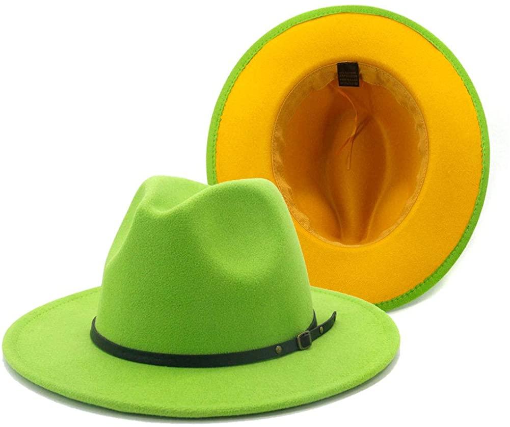 Gossifan Wide Brim Fedora Felt Panama Hat with Chain Belt Buckle