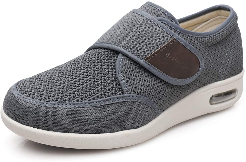 Brandless Men's Diabetes Elderly Shoes Plus Size Plus Fat Widening Velcro Adjustable Shoes Feet Swollen Shoes Non-Slip Double Insoles Air Cushion Bottom Walking Shoes Gray 11