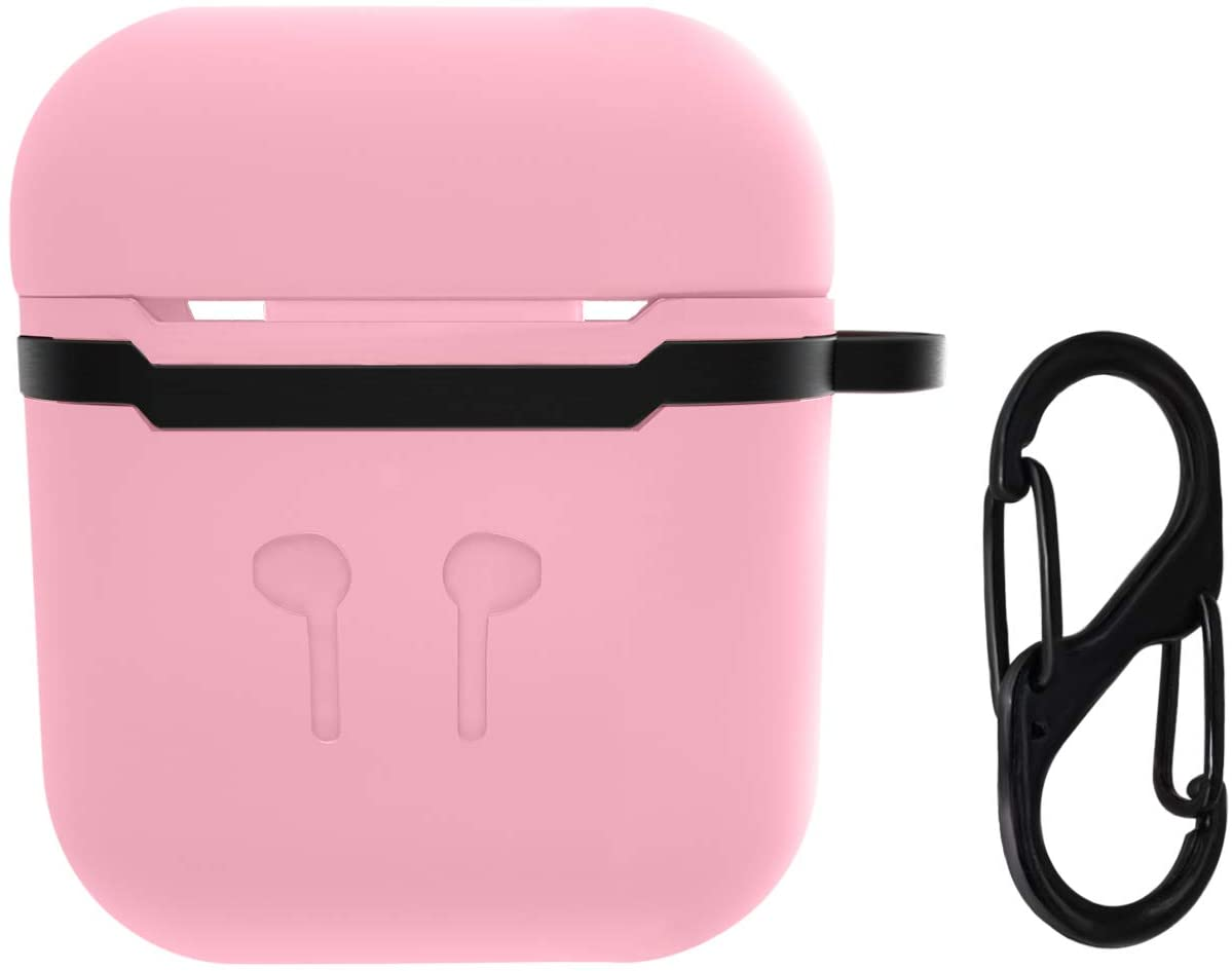 ifctn Liquid Silicone Shockproof Cover for Apple AirPods Case with Keychain (Pink)