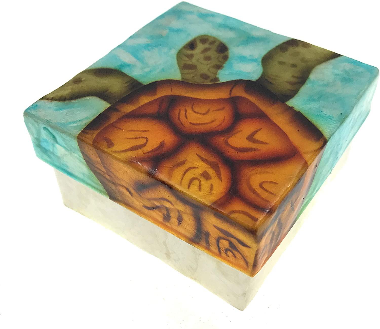 Kubla Craft Vibrant Sea Turtle Capiz Shell Keepsake Box, 3 Inches Square