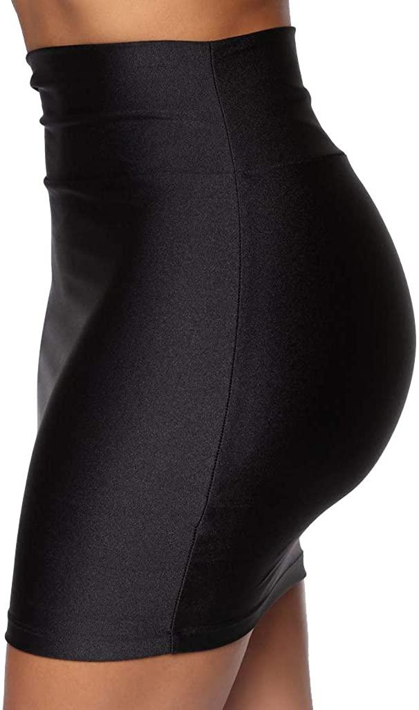 Nihsatin Women's Casual Classic High Waisted Stretchy Bodycon Pencil Mini Skirt
