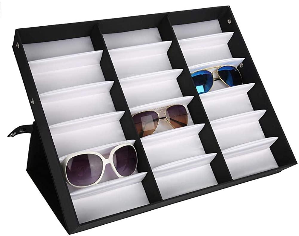 Sunglass Organizer Box, Eye Glasses Storage Stand Eye wear Display Storage Case Tray 18 Pcs Glass Display Storage Case Organizer for Eyeglasses and Sunglasses Display