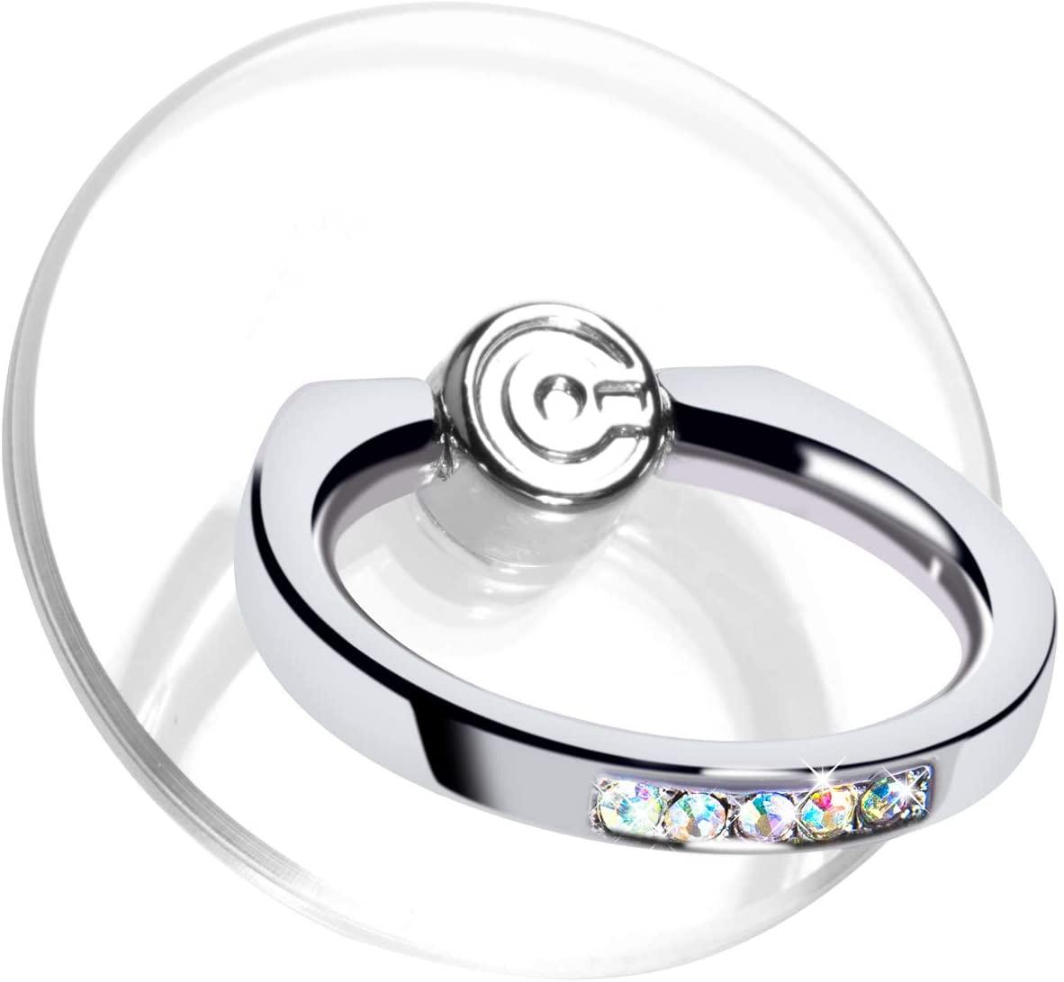 Transparent Phone Ring Stand Holder - EI Sonador Cell Phone Ring Holder Finger Grip 360 Degree Rotation (2 Colorful Diamond)