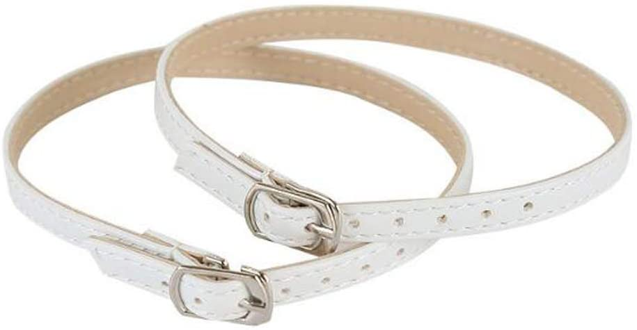 Ewanda store 5 Pairs Women Lady High Heeled Shoe Bungee Shoelaces, Boat Shoe Anti Slip Shoe Straps with Buckle(White)