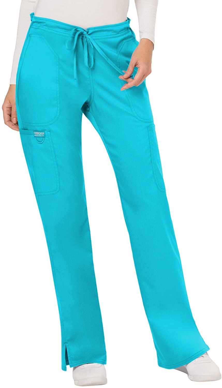 Cherokee Workwear WW Revolution Mid Rise Moderate Flare Drawstring Pant, WW120, M, Turquoise