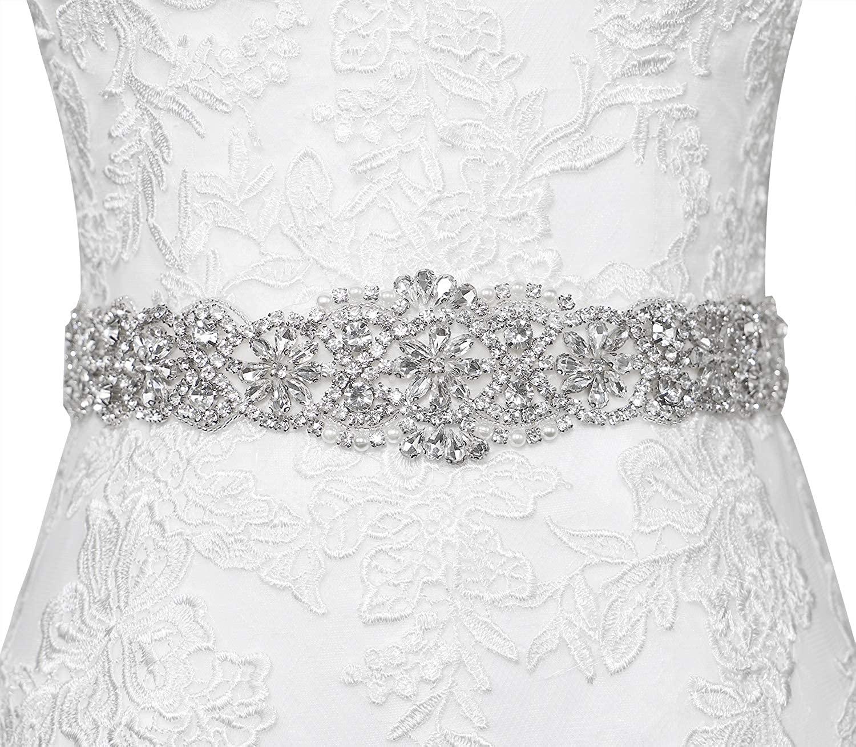 Lovful Womens 22In Length Bridal Rhinestone Wedding Dress Belts Crystal Sash Ribbon Belts