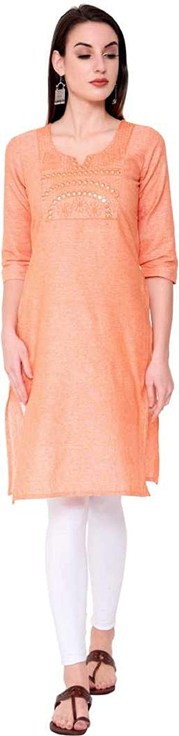 Womens Cotton Embroidered and Mirror Work Straight Kurti