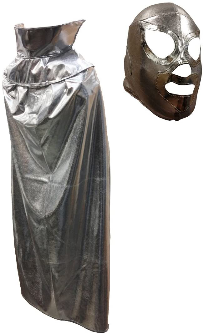 Silver JR Youth Lucha Libre Wrestling Mask & Cape Halloween Costume Set - Silver
