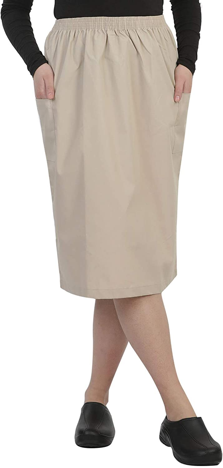 MAZEL UNIFORMS Womens A-LINE Scrub Skirt with Cargo Pockets and Elastic Waist