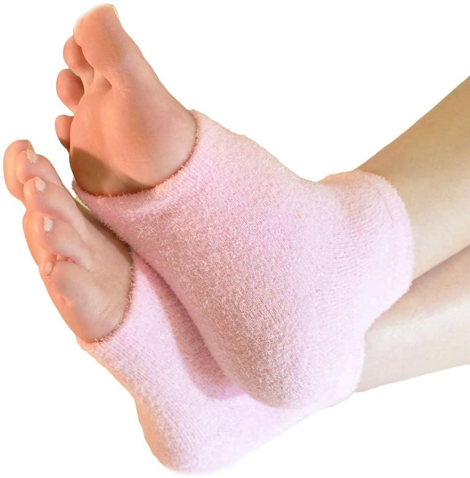 WINOMO Moisturising Socks Heel Protector Sleeve Socks for Dry Cracked Skin (Pink)