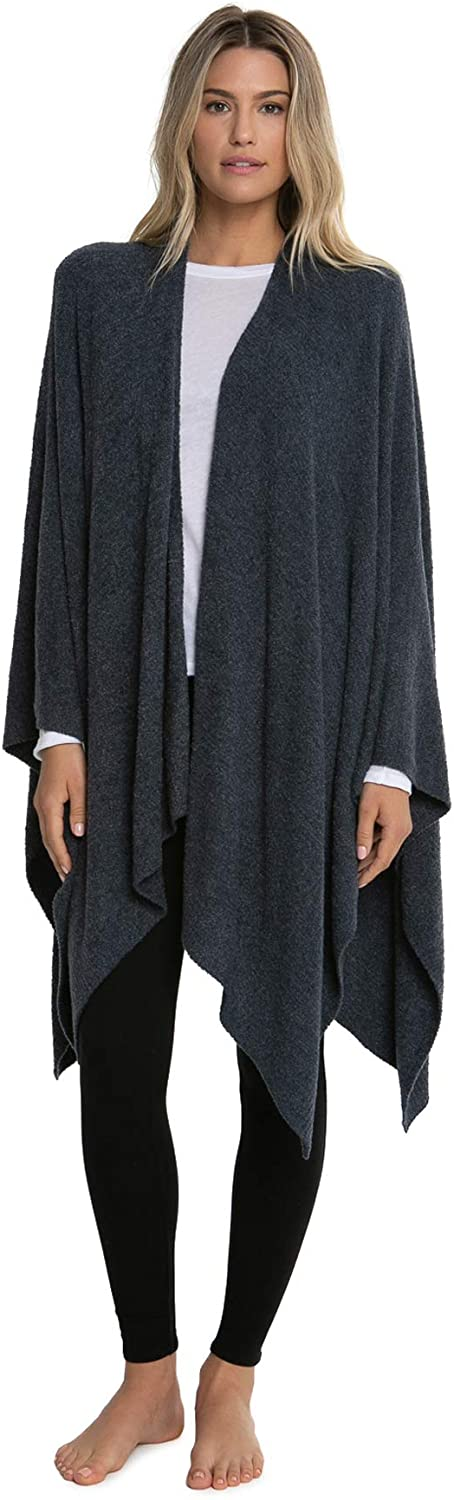 Barefoot Dreams Bamboo Chic Lite Weekend Wrap - Heathered Pewter/Pearl