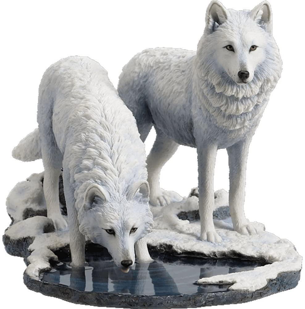 Veronese Design Winter Warriors - Two Wolves Sculpture by Lisa Parker