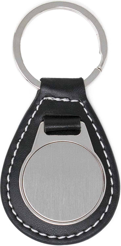 Black Leather Teardrop Genuine Leather Keychain