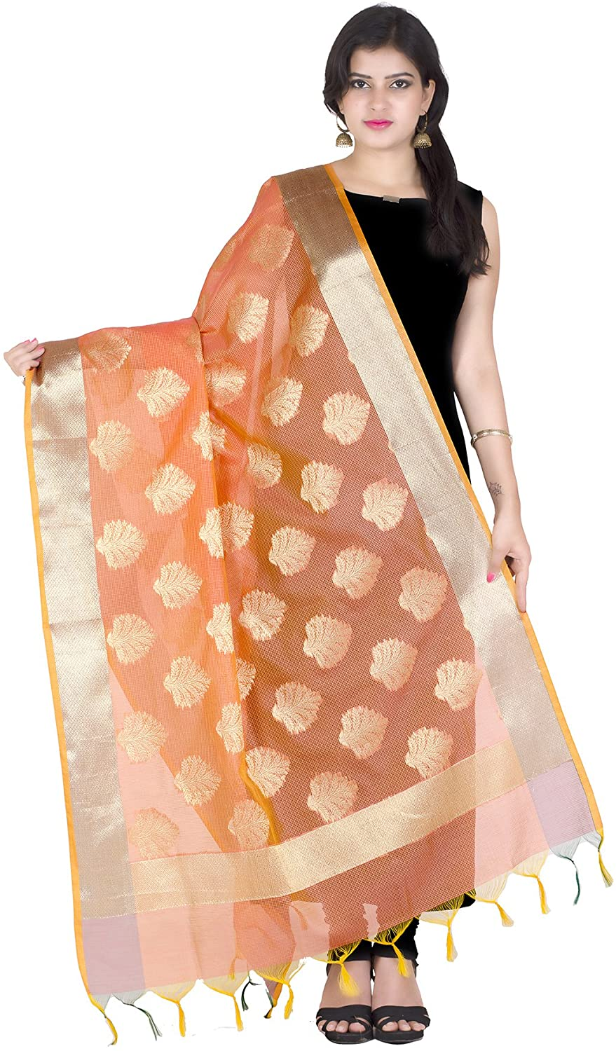 Chandrakala Women's Handwoven Zari Work Indian Ethnic Banarasi Dupatta Stole Scarf(D111)