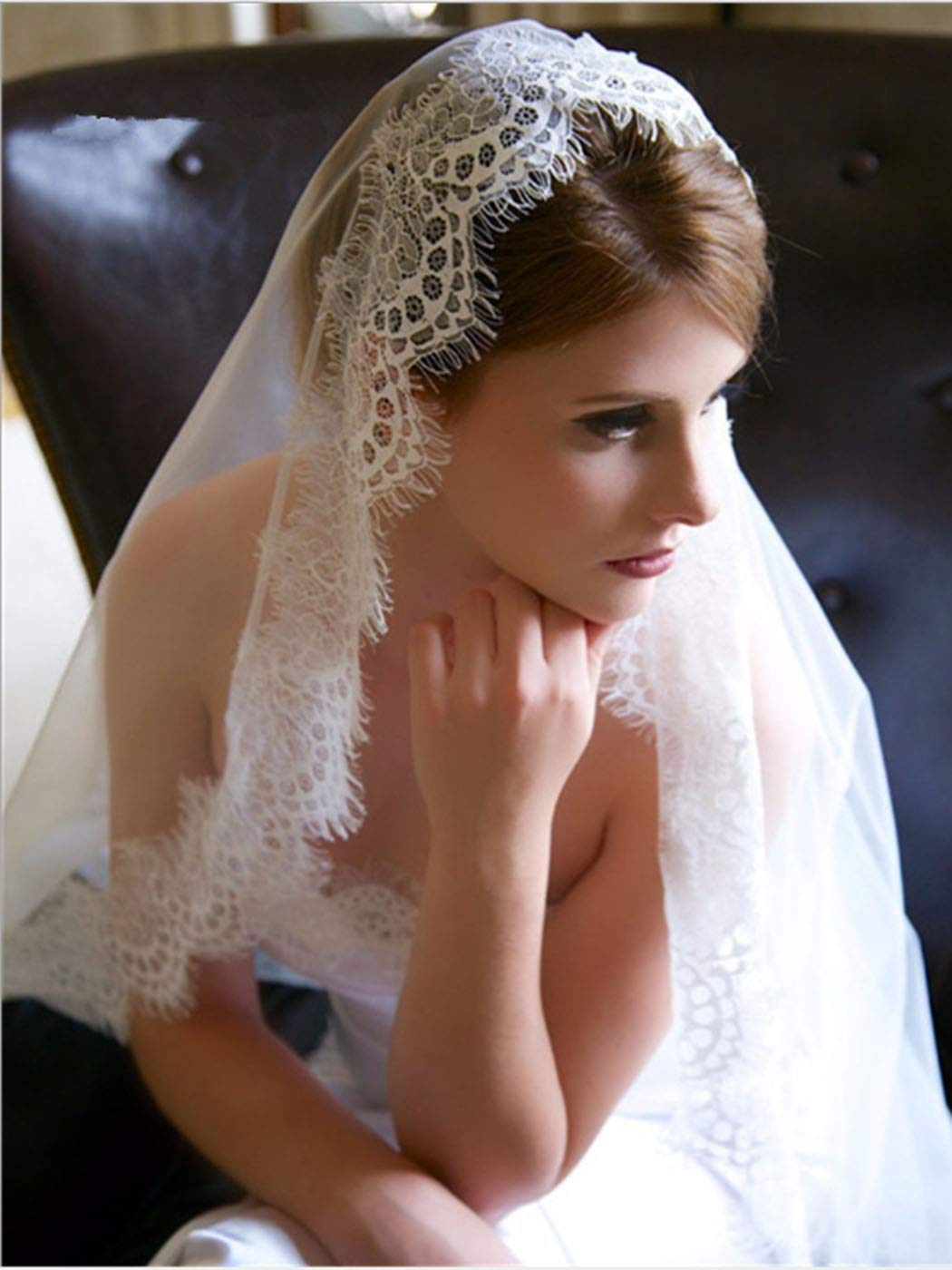 Bmirth Bride Wedding Veil Ivory Cathedral Length Lace Bridal Tulle Hair Accessorries 118