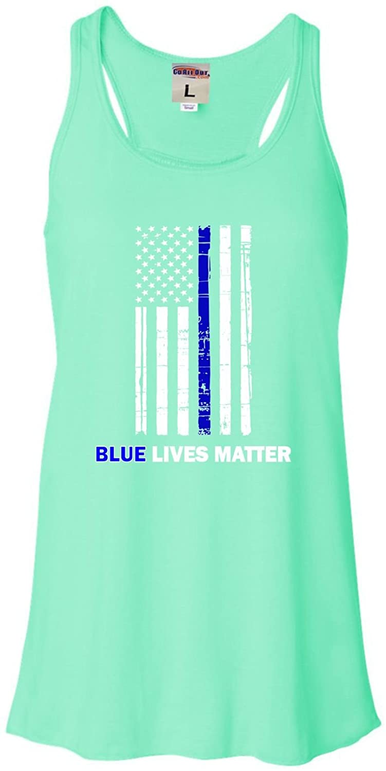 Go All Out Womens Blue Lives Matter Thin Blue Line Support Police Flowy Racerback Tank Top T-Shirt
