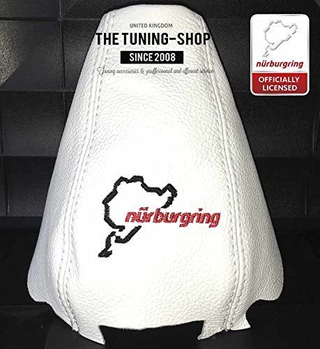The Tuning-Shop Ltd For Audi A4 B7 2005-07 White Leather Shift Boot With Nurburgring Edition