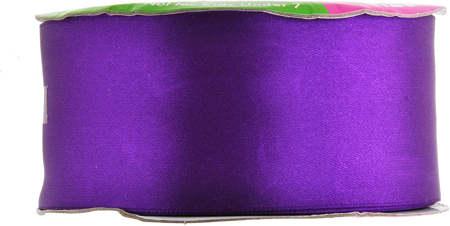 Purple Satin Ribbon 2 Inch 50 Yard Roll for Gift Wrapping, Weddings, Hair, Dresses, Blanket Edging, Crafts, Bows, Ornaments; by Mandala Crafts