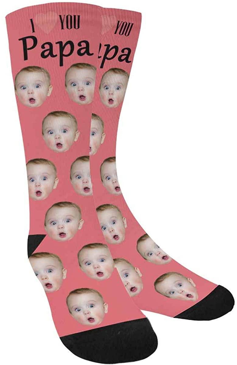 Custom Photo Socks I Love You Papa, Personalized Face Socks Multiple Faces Black