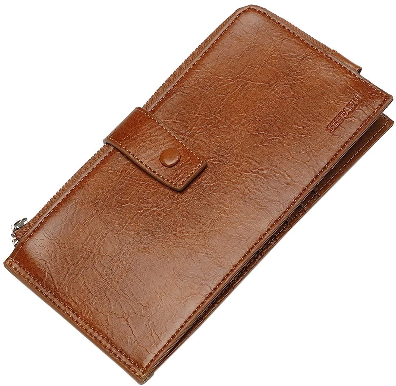 SEEFARW Multi-Function Wallet Genuine Leather Short Card Package Driving Document Certificate Bag Phone Pack