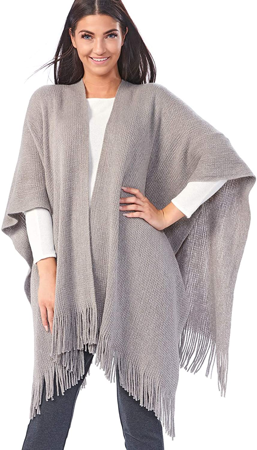 Avenue 9 Open-Front Cape with Fringes - Grey Poncho Style Cape for Women