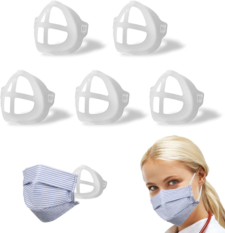 3D Mask Bracket Internal Support Frame Silicone for Adult Women Men,Reusable Washable Breathing Face Frame Aheild Bulk Clear Fave Makeup Lip Nose Mouse Pads Plastic Shield Soft Space Homemade Visor