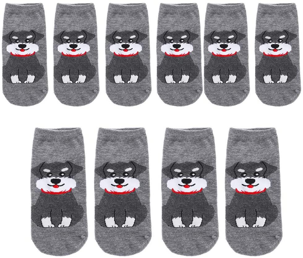 mvblery 5 Pairs Cotton Short Hosiery Cartoon Dog Pattern Ankle Socks Funny Art Boat Socks Women Socks(Grey)