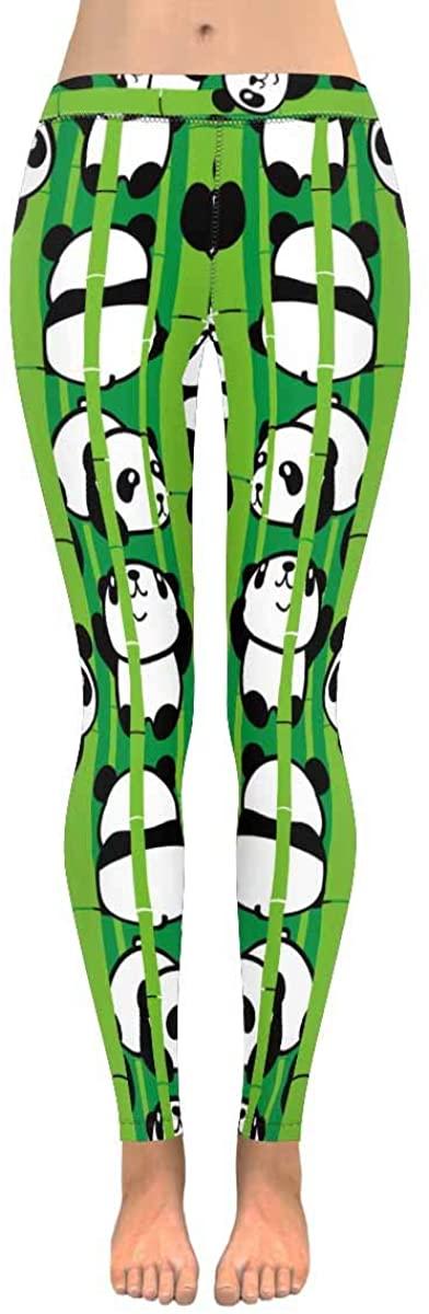 INTERESTPRINT Women's Stretchy Yoga Pants Panda with Pizza Full Length Active Leggings