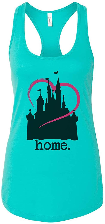 "FunnyThreadz Women's Tank Top ""Disney Home"" Ideal Tank Top - Large, Sky Blue"