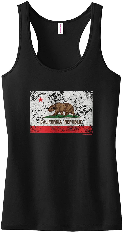 Threadrock Women's Distressed California Flag Racerback Tank Top