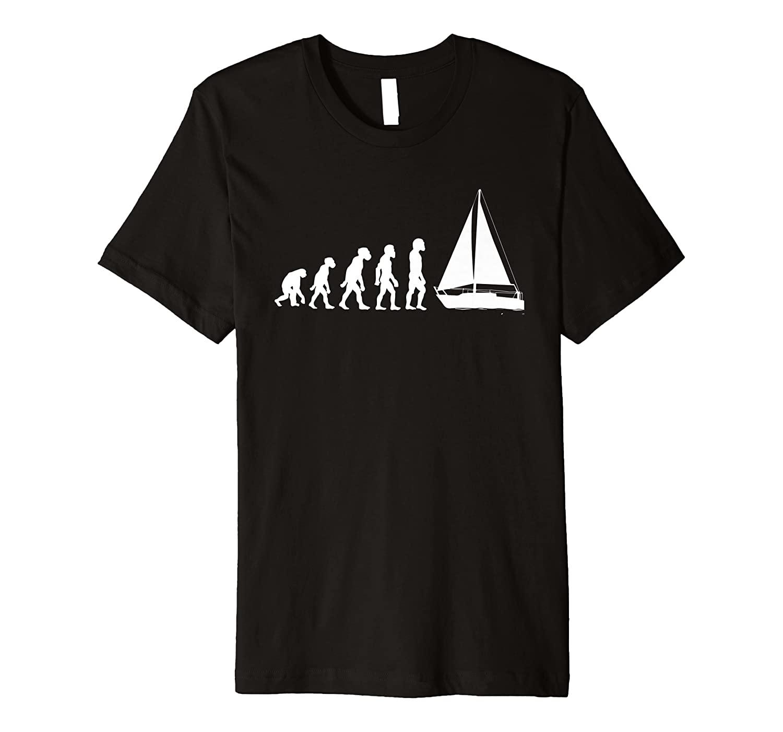Funny Human Sailing Evolution Sailboat Sailor Boating Yacht Premium T-Shirt