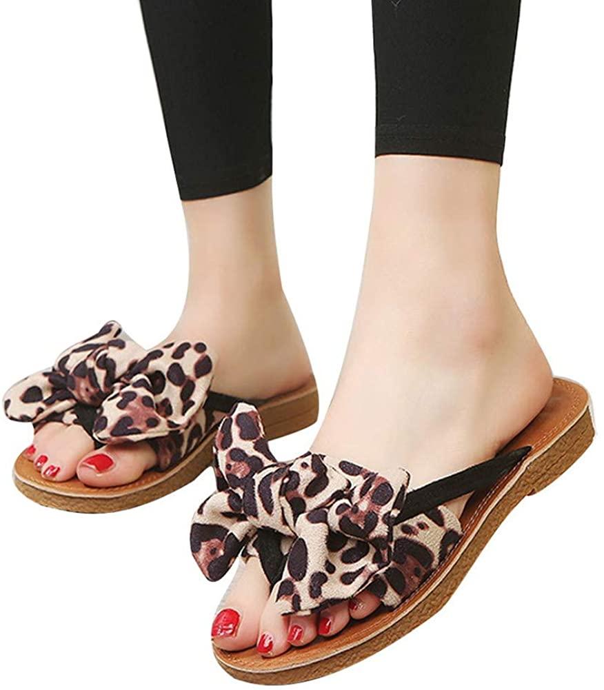 Gibobby Slippers for Women Wide Width,Womens Summer Bow Leopard Platforms Sandals Anti-Slip Summer Beach Thong Slippers