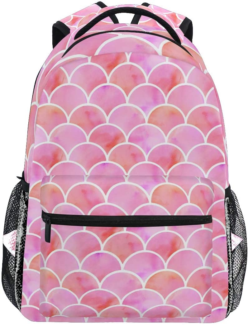 Pink Mermaid Scales Vintage Backpacks for Girls Women, Fish Scale Casual Computer Laptop Backpack, Kid's Book Bag Travel Sports Camping Daypack