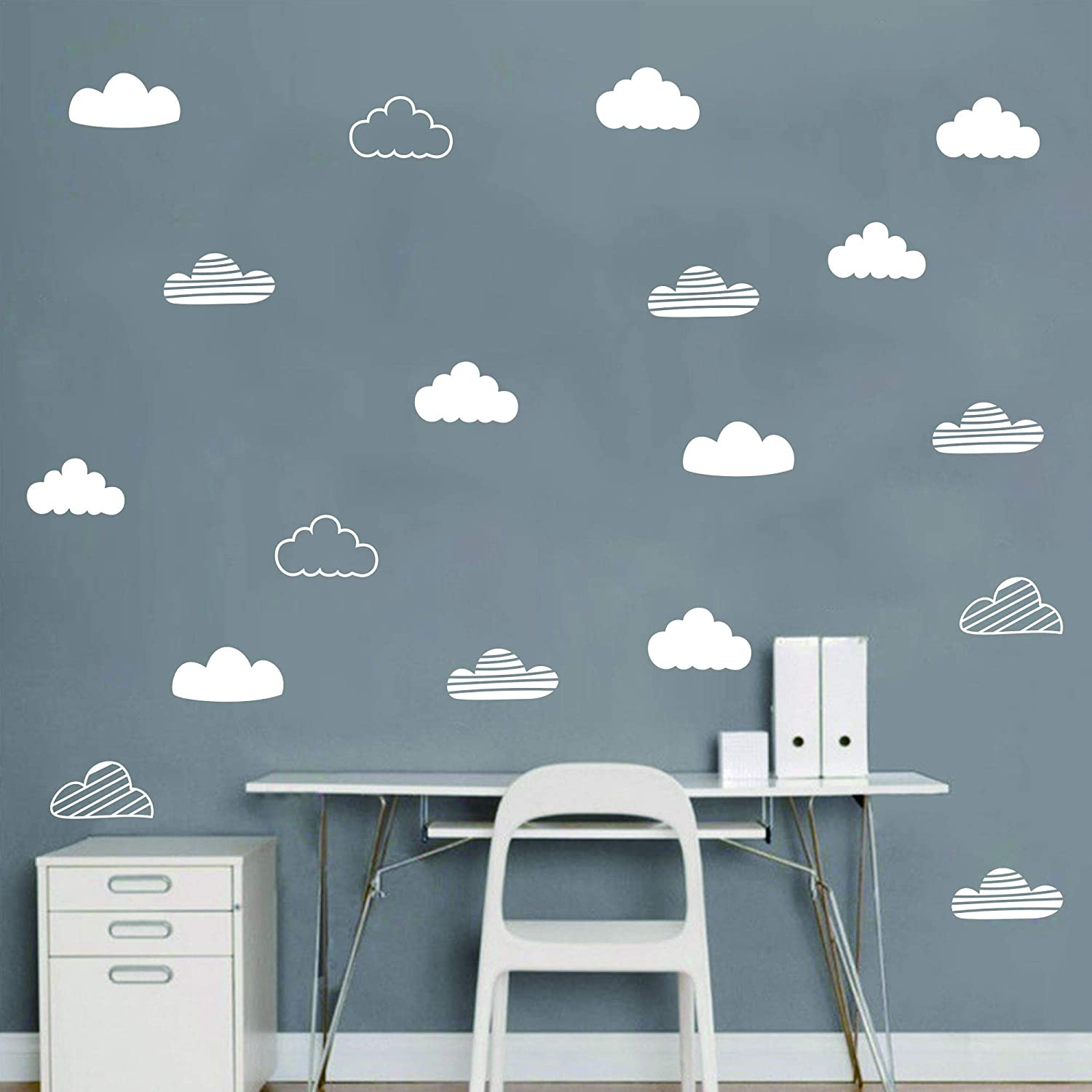 24 Pcs/Set Clouds Decal Vinyl Wall Sticker for Kids Room Nursery Decoration Boy Girl Child Bedroom Living Room Art Decor Home House Design Mural YMX57 (White)