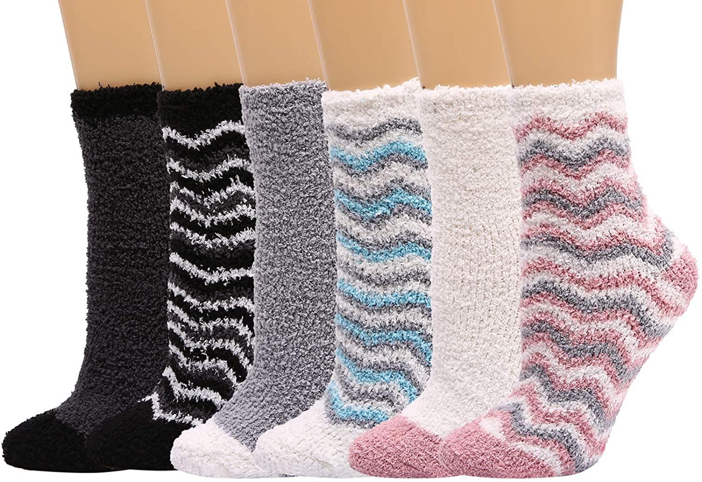 HELN Women Fluffy Plush Slipper Socks Microfiber Fuzzy warm Anti-Skid Socks for Winter Indoor Home Sleeping(3 or 6 Pairs)