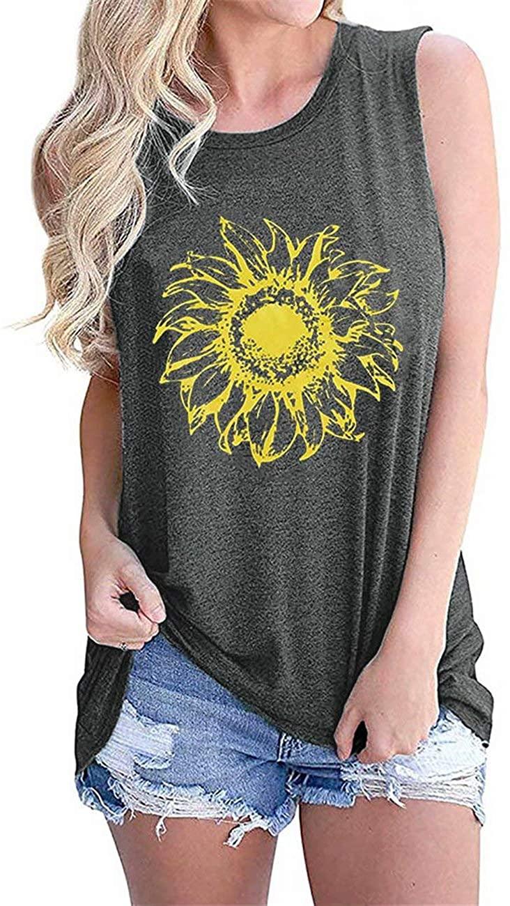 YUELIANG Sunflower Sleeveless Tank Tops for Women Graphic Printed Round Neck T Shirts