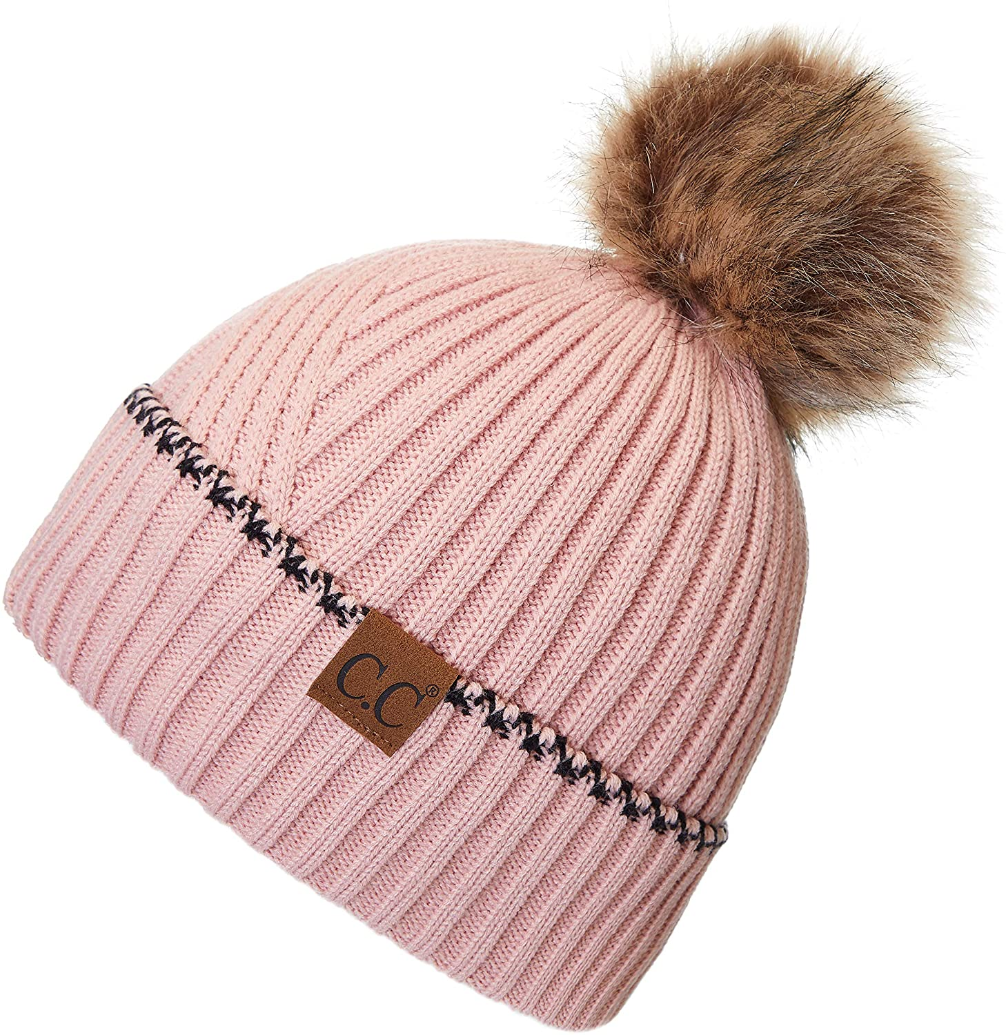 C.C Exclusives Solid Pom Beanie Hat with Accented Cuff (YJ-920)