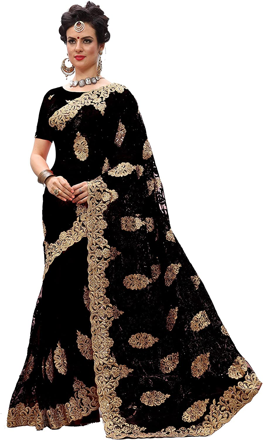 Nivah Fashion Women's Net Heavy-Embroidery Work Saree with Blouse Piece (Black)