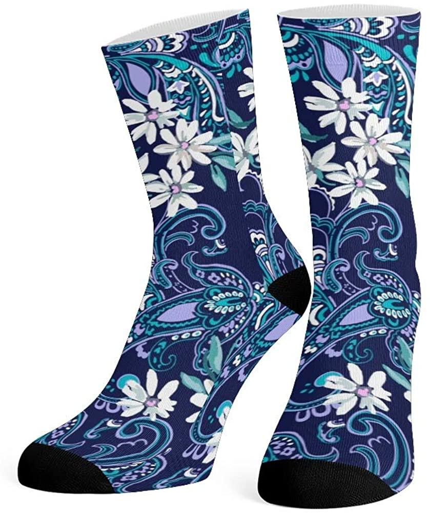 XOZOTY Custom Funny Novelty Daisy Paisley Floral Crew Socks for Mens Womens