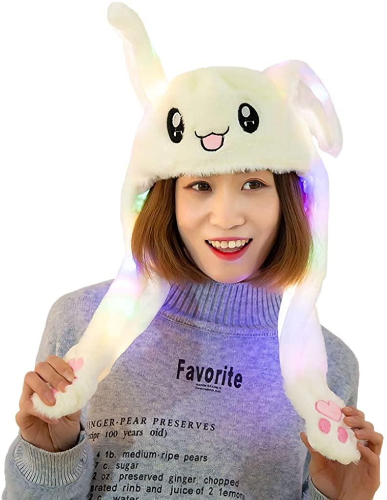 GKanMore Funny Rabbit Ear Hat Can Move Cute Soft Plush Bunny Hat Cap Headband for Women Girls (White)