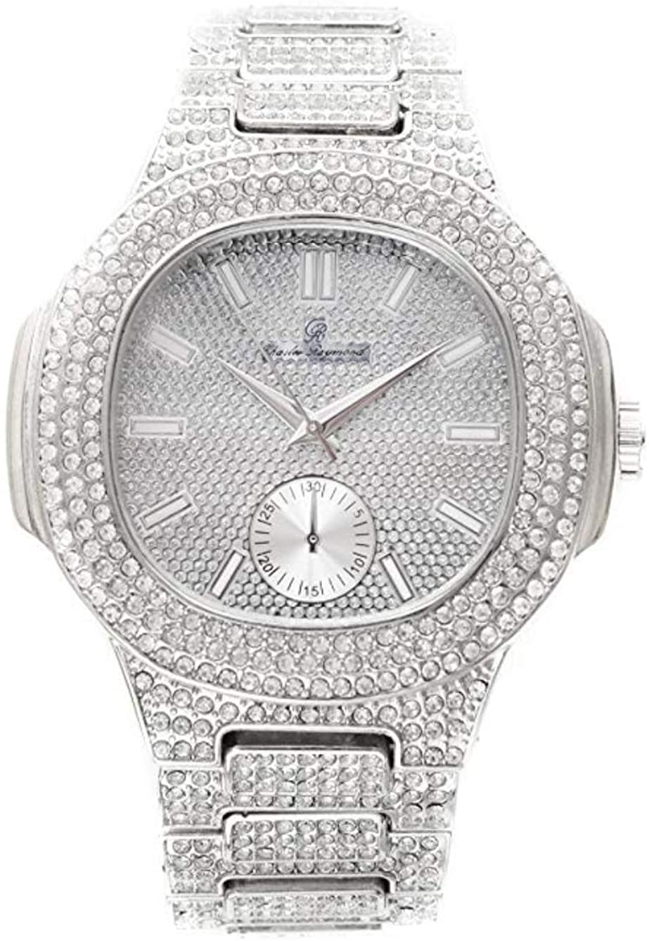 Bust Down AP Watch. Iced Out CZ Diamonds Gold Color Silver AP Hip Hop Watch Jewelry. Rapper Bling Rollie Skelton
