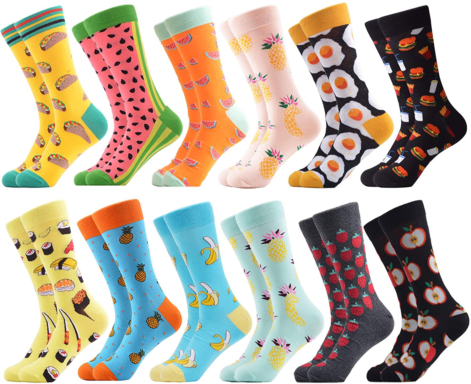 WeciBor Men's Funny Crazy Colorful Patterned Combed Cotton Novelty Crew Socks